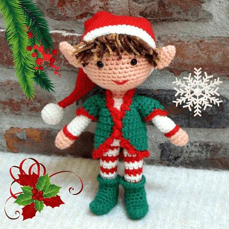 Christmas Elf Boy Amigurumi Crochet Pattern by Crochet Cute Dolls
