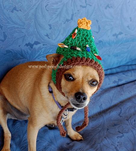 Christmas Tree Dog Hat Crochet Pattern by Posh Pooch Designs