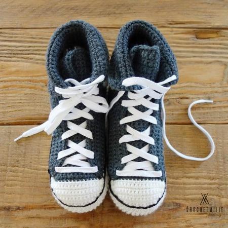 classic high cut crochet converse sneaker pattern