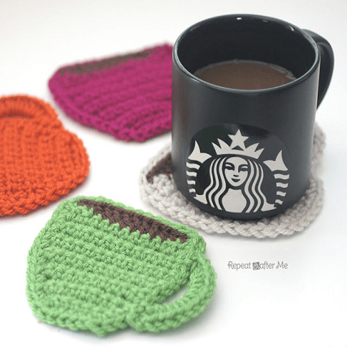 Crochet Coffee Coasters Pattern by Repeat Crafter Me