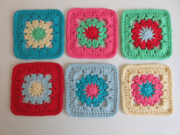 Colorful Granny Square Coasters Crochet Pattern by Addies Knitted Gifts