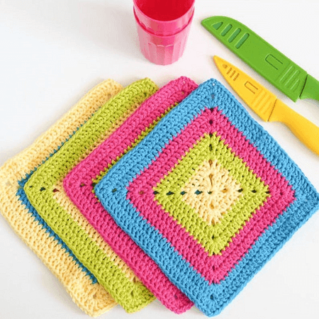 Colorful Solid Granny Square Dishcloth Crochet Pattern by Dabbles And Babbles