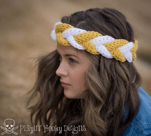 Crochet Braided Headband Pattern by Playin Hooky Designs