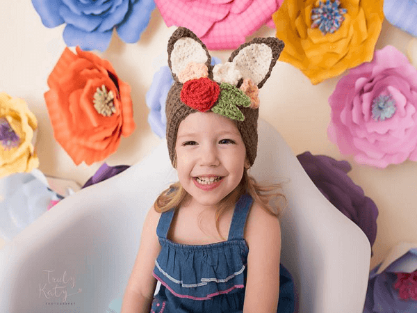 Crochet Bunny Headband Pattern by Semi Sweet Crafter