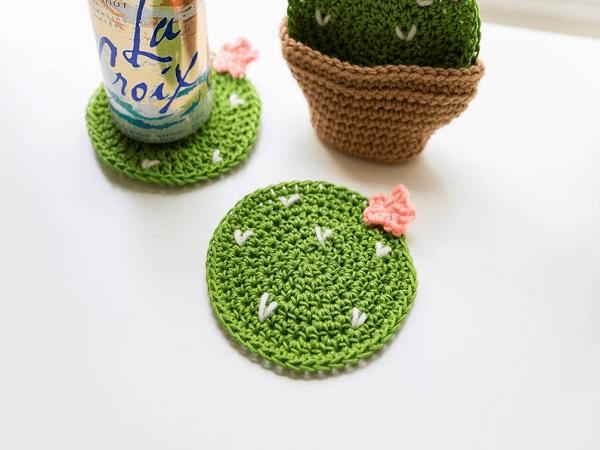 Crochet Cactus Coasters Pattern by Sewrella
