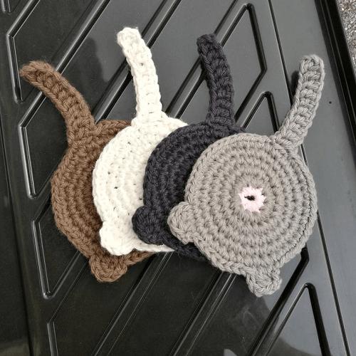 Crochet Cat Butt Coaster Pattern by Shop Raven Craft