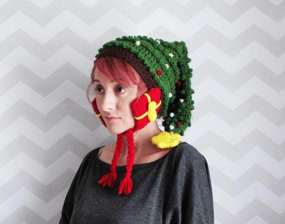 Crochet Christmas Tree Hat Pattern by Hello Happy