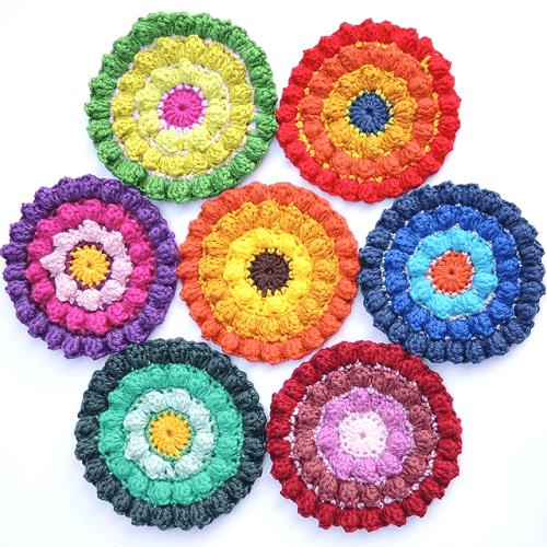 Crochet Color Burst Coasters Pattern by Moois Van M(i)e