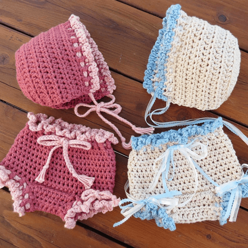 Crochet Diaper Cover and Bonnet Pattern by Deborah O Leary Pattern