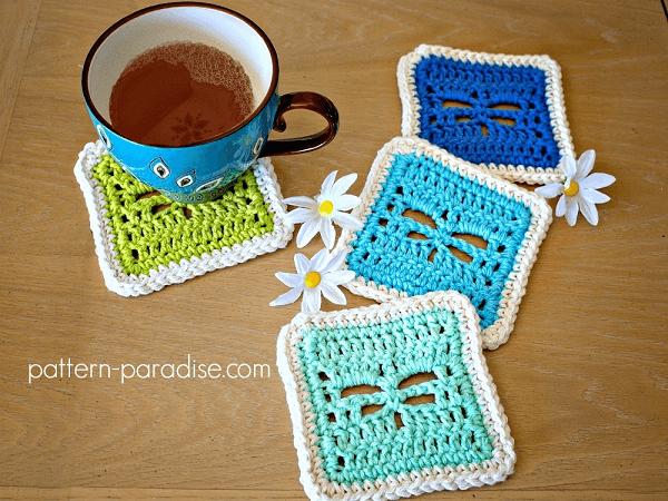 Crochet Dragonfly Coaster Pattern by Pattern Paradise
