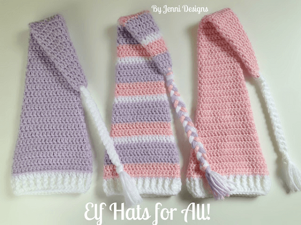 Elf Hat Crochet Pattern With Long Tail by Jenni Design