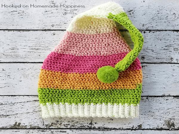 Elf Crochet Hat Pattern by Hooked Handmade Happy