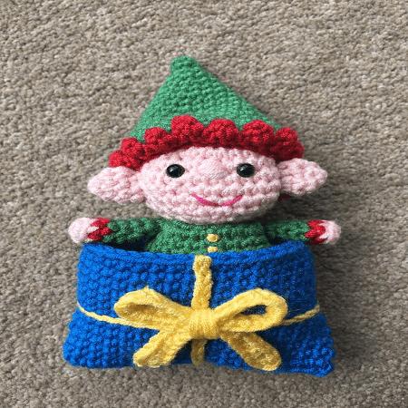 Elf In A Present Sleeping Bag by Lau Loves Crochet