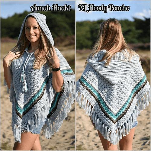 Crochet Hoody Poncho Pattern by Annah Haakt
