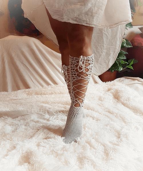 Crochet Knee High Socks Pattern by Maya Luna Corazon