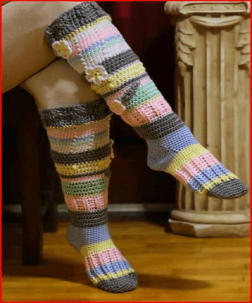 Crochet Knee-High Socks Pattern by Yarnutopia