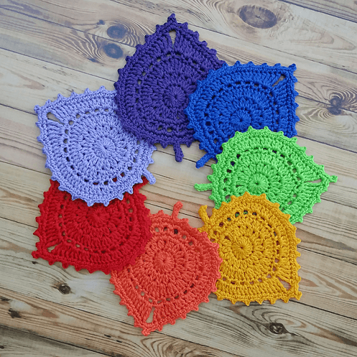 Crochet Leaf Coasters Pattern by Katherine Laight
