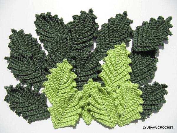 Crochet Leaf Pattern by Lyubava Crochet