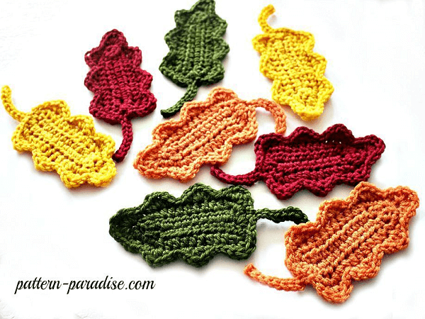 Free Crochet Oak Leaf Pattern by Pattern Paradise
