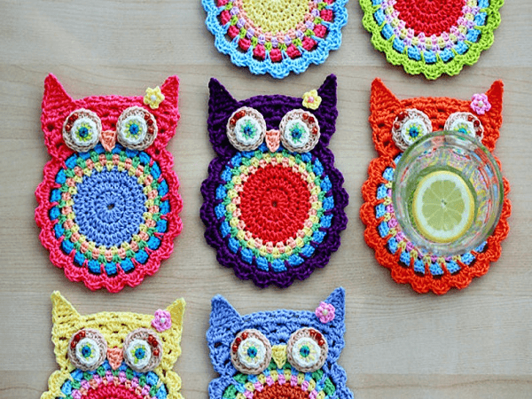 Crochet Owl Coasters Pattern by Zoom Yummy