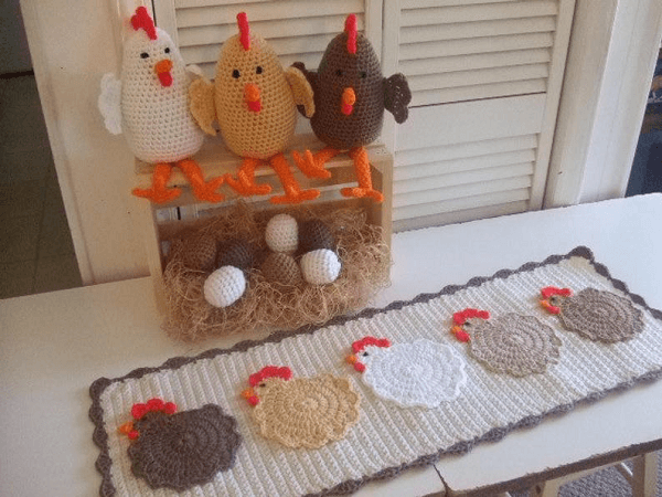 Crochet Pattern Chicken Table Runner by Crochet Village