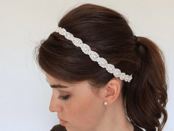 Crochet Pearl And Lace Headband Pattern by Paige In A Blanket