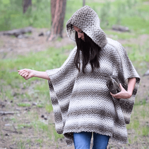 Crochet Poncho With Hood Pattern by Mama In A Stitch