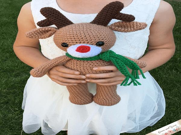 Amigurumi Reindeer Crochet Pattern by Grace and Yarn