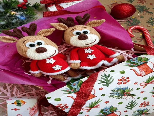 Girl and Boy Crochet Reindeer Pattern by Plyushki Toys Patterns