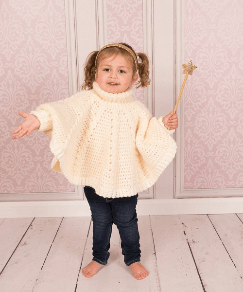 Crochet Roll Neck Poncho Pattern by TC Designs UK