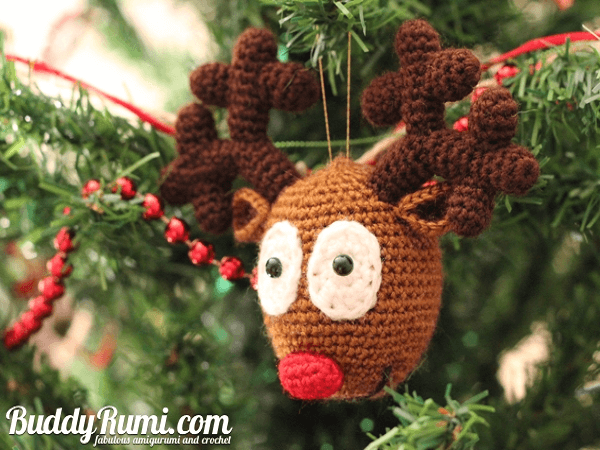 Rudolf Reindeer ornament Crochet Pattern by Ana Rosa