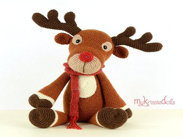Rudolf Reindeer Crochet Amigurumi Pattern by My Krisssie Dolls