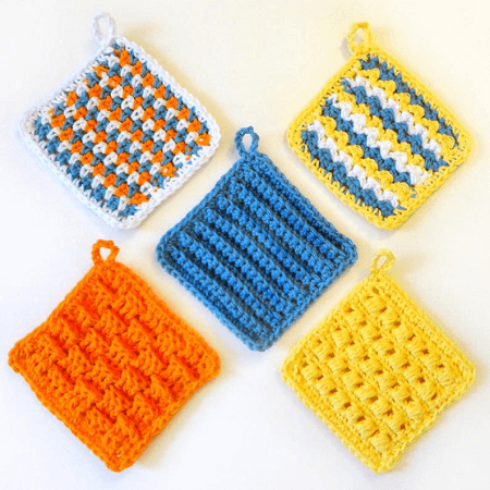 Crochet Scrubbie Dishcloth Set Pattern by Crochet Spot Patterns
