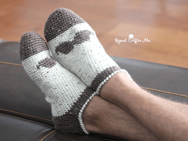 Crochet Mustache Socks Pattern by Repeat Crafter Me