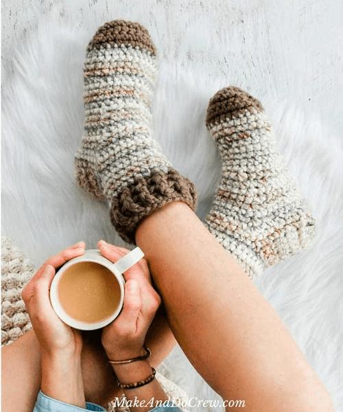 Crochet Winter Socks Pattern by Make And Do Crew