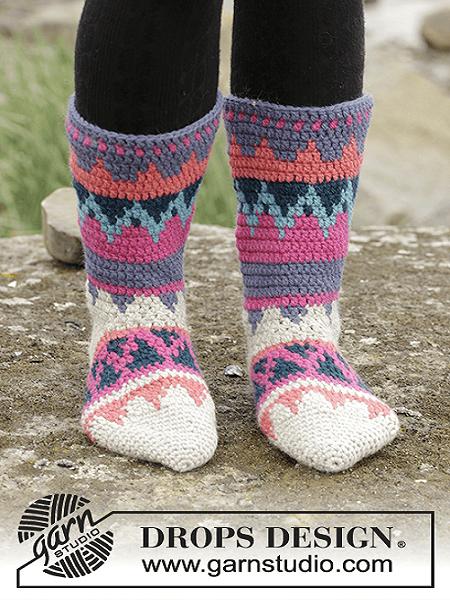 Crochet Socks Pattern by Drops Design
