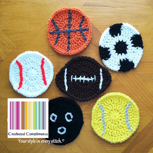 Crochet Sports Coaster Pattern by Crocheted Compliments