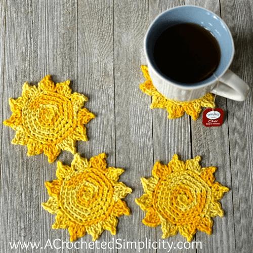 Crochet Sun Coasters Pattern by Jennifer Pionk