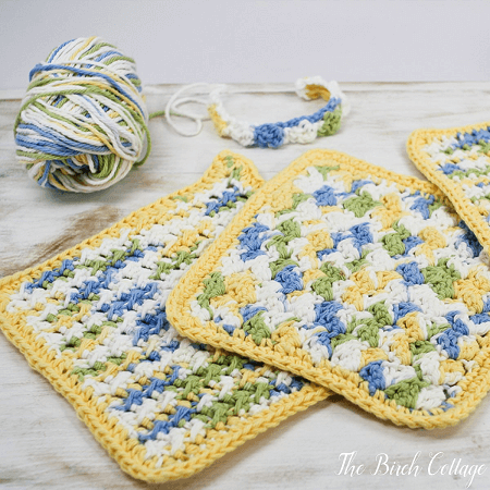 Crochet Textured Stitch Dishcloth Pattern by The Birch Cottage