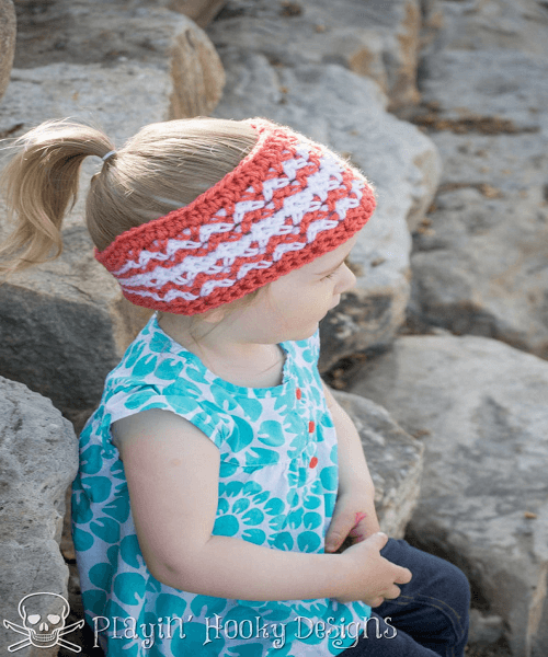 Crochet Timberline Headband Pattern by Playin Hooky Designs