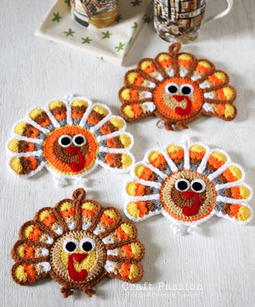 Crochet Turkey Coasters Pattern by Craft Passion