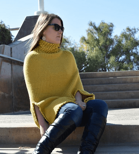 Gwendolyn Turtleneck Poncho Crochet Pattern by Skeinsnsticks Designs