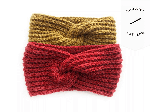 Crochet Twist Headband Pattern by Hands And Kneedles