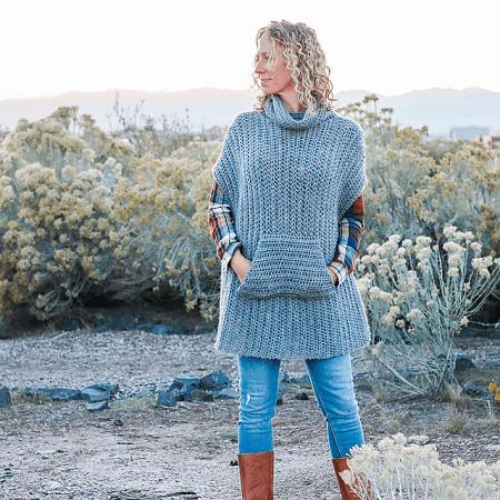 Crochet Greyscale Winter Poncho Pattern by Jess Coppom
