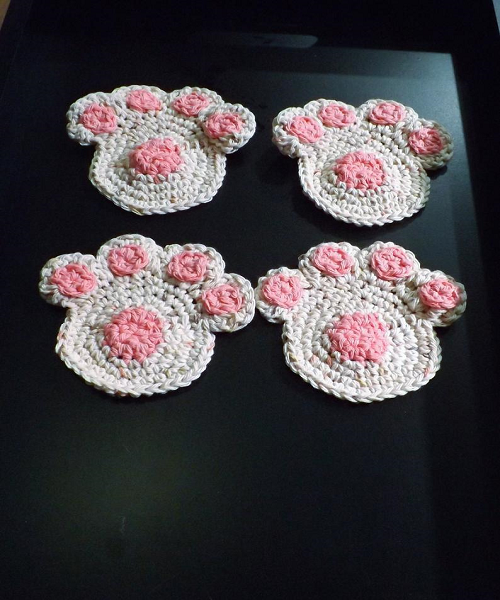 Dog Paw Coaster Crochet Pattern by Lets Hook That