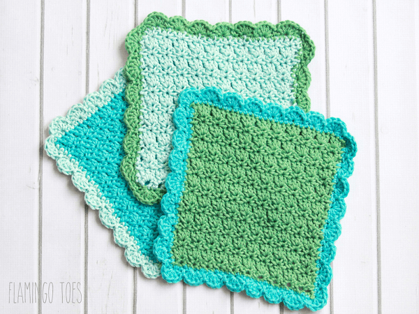 Easy Dishcloth Crochet Pattern by Flamingo Toes