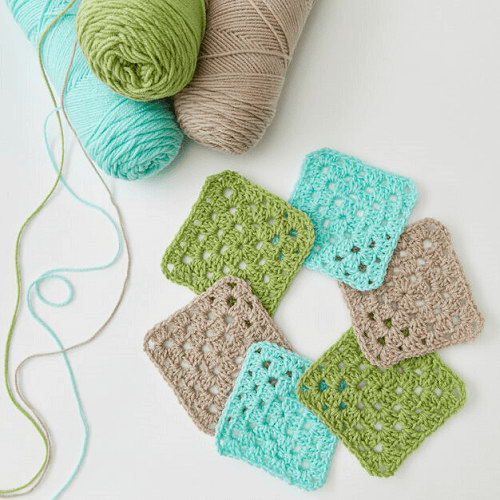 Easy Square Coasters Crochet Pattern by Red Heart
