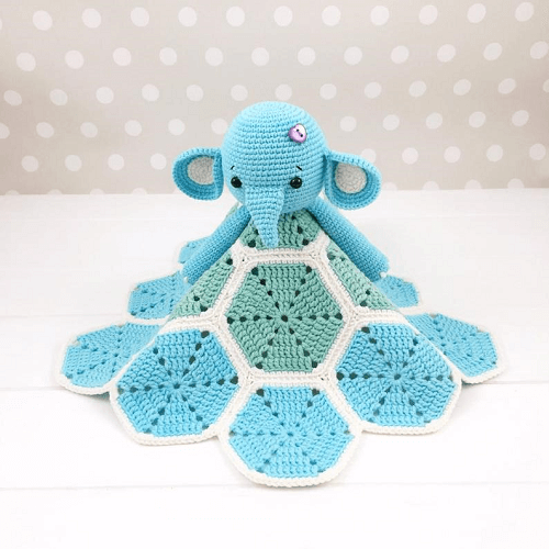 Elephant Baby Lovey Toy Crochet Pattern by Tikva Patterns