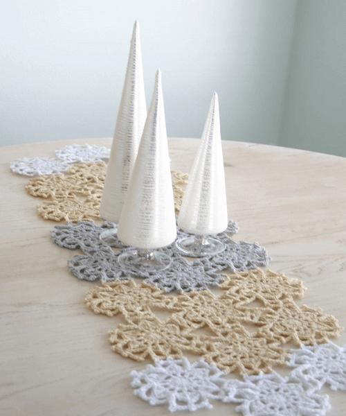 Fallen Snow Table Runner Crochet Pattern by Felted Button
