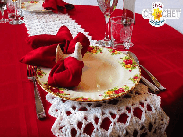 Festive Crochet Table Runner Pattern by Jayda In Stitches